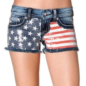 Miss Me American flag Sequin shorts